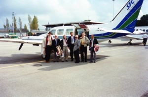 Group 1 Racing Club racing trip to Deauville. Private plane hired for Club members, Lester Piggott and trainer Bill Elsey.